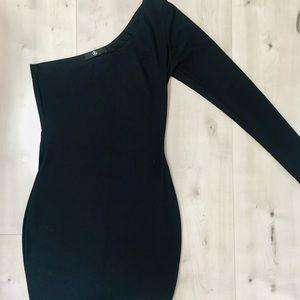 Missguided black one shoulder dress